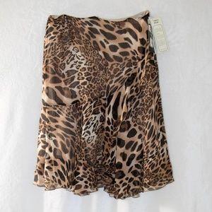 Peter Nygard  Cheetah Silk Skirt